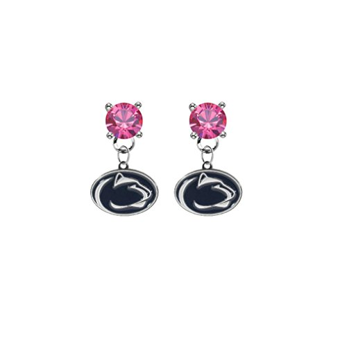 (Penn State Nittany Lions Pink Crystal Stud Post Dangle Earrings)