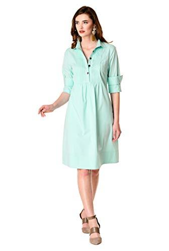 (eShakti Women's Pintuck bib Front Stretch poplin Shift Dress M-8 Regular Light Mint)