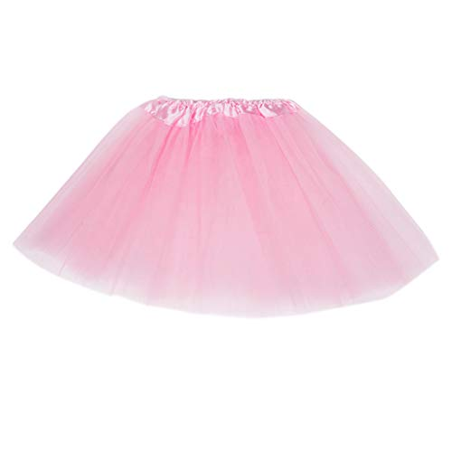 (PoityA Women Adult Three Layer Tulle Tutu Ballet Skirt Pleated Sweet Candy Color Ruffles Mesh Wedding Party Underskirt Mini Dress - Pink)