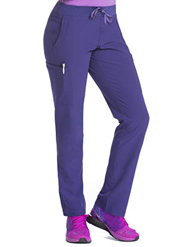 Med Couture Air Scrubs for Women, Yoga 2 Cargo Pocket Pant, Grape/Signature Purple, X-Large - Stretch Purple Pants