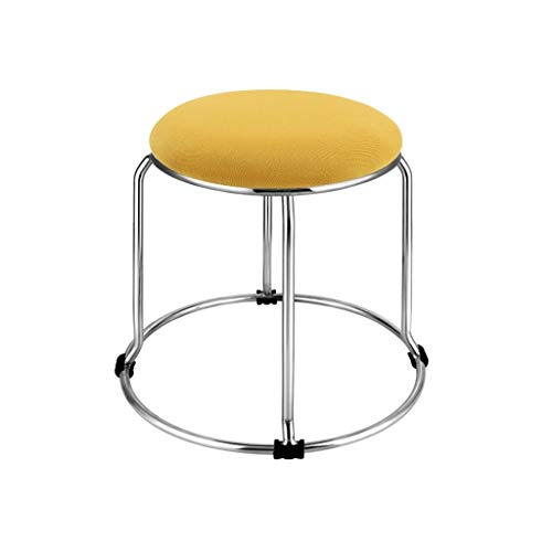 Stainless Steel Stool, Metal Sponge Bench Bar Club Footstool Breakfast Bar Barbecue Small Stool Maximum Load Capacity 170KG (Color : Yellow, Size : 2933CM)