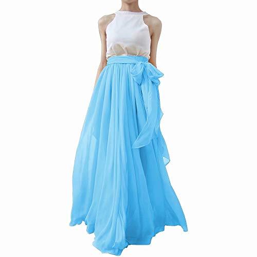 Lanierwedding Summer Beach Chiffon Long High Waist Maxi Skirt With Belt For Wedding 2017 Blue Size ()