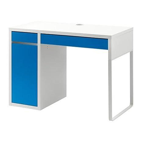 Scrivania Ikea Effektiv.Ikea Micke Schreibtisch In Weiss Blau 105x50cm Amazon De