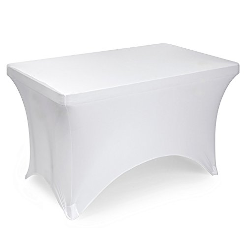 "Lann's Linens 4' Fitted Stretch Tablecloth for 48"" x 24"" Rectangular Table - Wedding/Banquet/Trade Show - Spandex Cloth Fabric Cover - White"