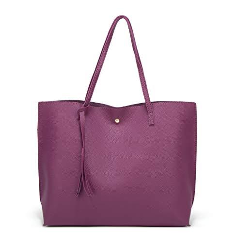 - Women's Soft Faux Leather Tote Shoulder Bag from Dreubea, Big Capacity Tassel Handbag Purple