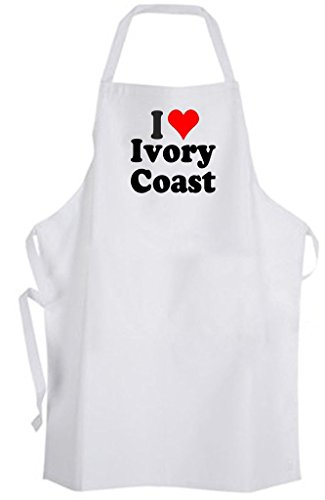 I Love Ivory Coast – Adult Size Apron - Côte d'Ivoire Africa by Aprons365