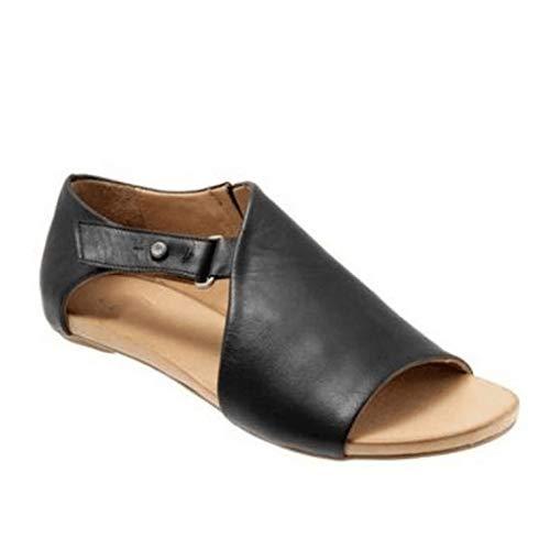 JOYBI Women Fashion Peep Toe Sandals Flats Slip On Retro Casual Comfort Buckle Summer PU Leather Sandal Shoes ()