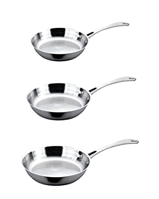 BergHOFF 3-Piece Stainless Steel Fry Pan Set