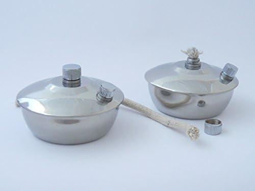 2x Spirituslampe mit extra Befüllöffnung, mit rundem Docht, 1A Qualität, Edelstahl 20 cm Ersatzdocht