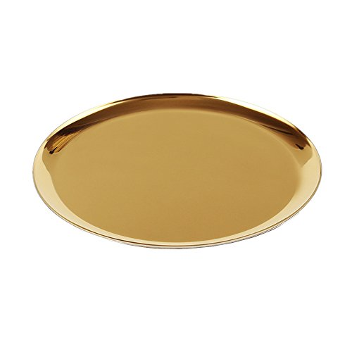 (METAN Luxury Round Stainless Vanity Trays 11-Inch Bathroom, Dresser, Kitchen, Jewelry Desk Organizer Tray Serving Tray (Gold Color))