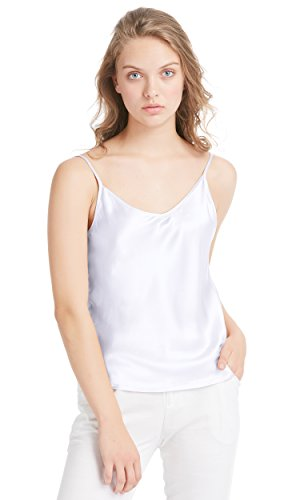 LilySilk Basic Womens Silk Camisole 100 Real Mulberry Silk Tank Tops & Ladies Cami Top with Soft Satin White S/4-6