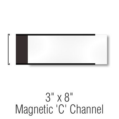 SmartSign Pack of 25 Magnetic 'C' Channel Label Holders   3'' x 8'' by SmartSign