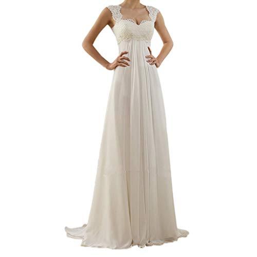 Birdfly Plus Size Elegant Solid White Lace Wedding Dress 3XL 4XL 5XL Evening Dress (L, -