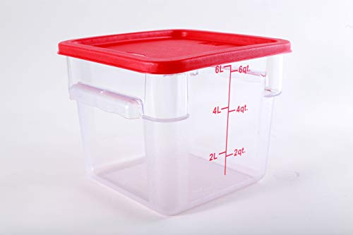 Hakka 6 Qt Commercial Grade Square Food Storage Containers with Lids,Polycarbonate,Clear - Case of 5 by HAKKA FOOD PROCESSING (Image #2)
