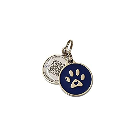 Blue Paw Smart Pet ID Tag-QR Code NFC URL Access to Pet Web Page w/Contact Medical Vet Info & Last Scanned GPS - Platinum Mobile Square