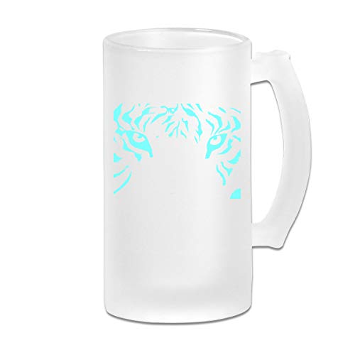 Double Wall Frosty Beer Mug - Personalized Neon Tiger Freezer Beer Cup With Handle - 16oz