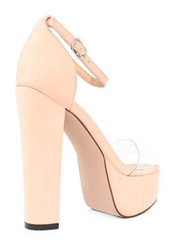 Chase & Chloe Cairo-5 Open Toe Sandalo Con Plateau In Chunky Con Cinturino Alla Caviglia Color Rosa