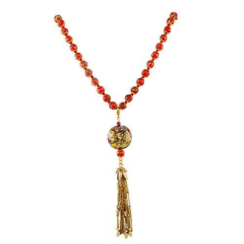 Orange Pendant Glass Murano (Just Give Me Jewels Genuine Venice Murano Sommerso Aventurina Glass Bead Strand Pendant Necklace in Orange)