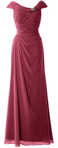 Mother Gown Boat Women Bride Formal MACloth Neck Cap Weinrot the of Dress Long Sleeves HxS8nFq