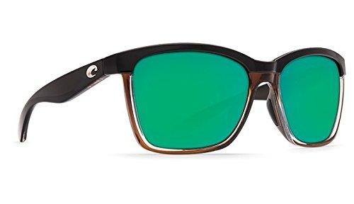 Costa Del Mar Anaa Sunglasses Shiny Black on Brown/Green Mirror 580 ()