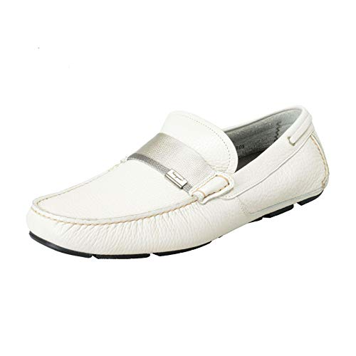(Salvatore Ferragamo Men's Rio Pebbled Leather Driving Moccasins Shoes US 8.5EEE IT 41.5EEE Off White)