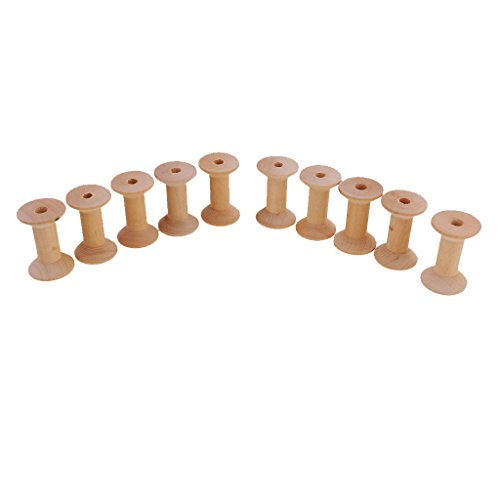 Ribbon Spool Holder (Jili Online 10 Piece Wooden Empty Sewing Bobbins Spools Sewing Thread Ribbon Holders 47mmx31mm)