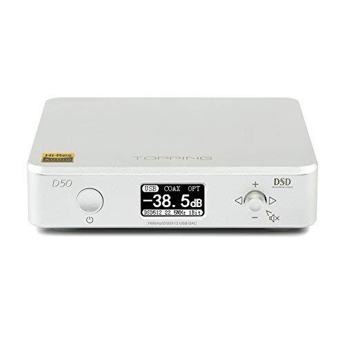Topping D50 DAC Hifi Audio DAC ES9038Q2M x 2  XMOS XU208 DSD512 32Bit/768kHz OPA1612 USB/Optical/COAX Digital Decoder Amplifier(Silver)