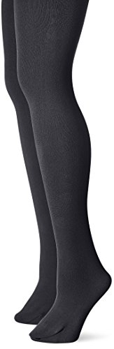 Muk Luks Women's Fleece Lined 2-Pair Pack Tights, Black, -