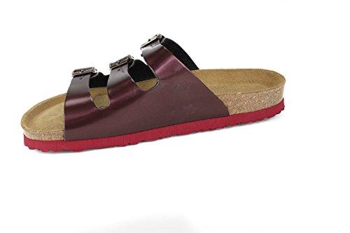 JOE N JOYCE Women Paris Soft-Footbed Metallic SynSoft Sandals Slippers Narrow Bordeaux 2PVXpX