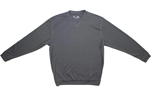 (Pebble Beach Men's Long Sleeve Crew Neck Performance Shirt (Medium, Grey))