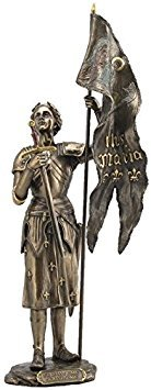 Folk Hero Saint St Joan of Arc with IHS Maria Flag and Sword Cold Cast Bronze Statue Figurine
