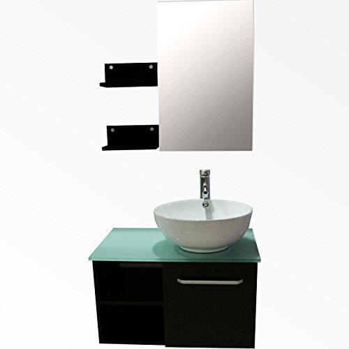 Sliverylake 28 inch Bathroom Vanity Sink Pedestal Wood Cabinet Countertop Square Ceramic Vessel Sink Modern Design w/Mirror Faucet