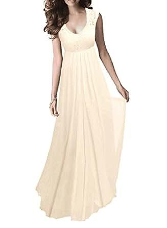 SYLVIEY Women's Vintage Lace V Neck Sleeveless Maxi Bridesmaid Evening Dress (Small, Beige)