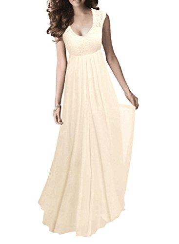 Beige Womens Dress - SYLVIEY Women's Vintage Lace V Neck Sleeveless Maxi Bridesmaid Evening Dress (Large, Beige)