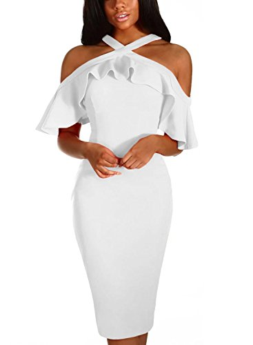 - Dokotoo Womens Elegant Special Occasion Dress Formal Frill Cold Shoulder Ruffle Sleeve Halter Bodycon Midi Pencil Dress Party Club Cocktail White