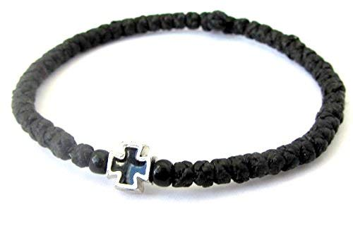 Handmade Christian Orthodox Komboskoini, Prayer Rope Bracelet Black - 5607