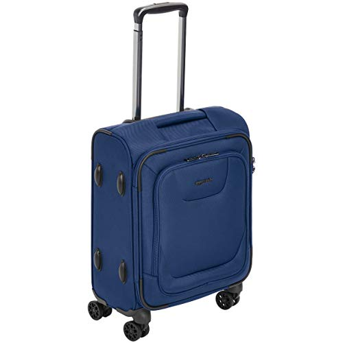 (AmazonBasics Expandable Softside Carry-On Spinner Luggage Suitcase With TSA Lock And Wheels - 18 Inch, Blue )