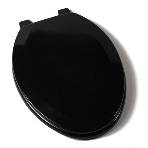 Comfort Seats C1B4E290 Deluxe Molded Wood Toilet Seat, Elongated, Black