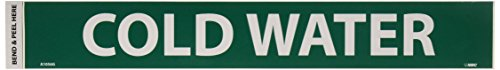 NMC A1056G Pipe Marker, Legend ''COLD WATER'', 14'' Length x 2'' Height, 1-1/4'' Letter Size, Pressure Sensitive Vinyl, White on Green (Pack of 25) by NMC