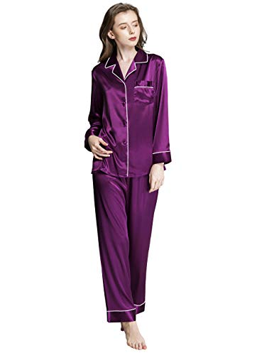 Womens Silk Satin Pajamas Set Purple S
