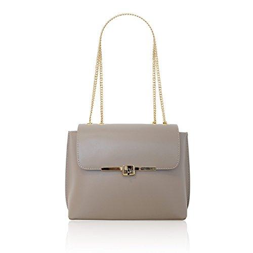 Lichte Lederen Op Rigid myitalianbag Met Italian Schouderriem Rechte Gouden Sofia Dames Revers Schoudertas Keten Bag Turtledove RwB6wPq87