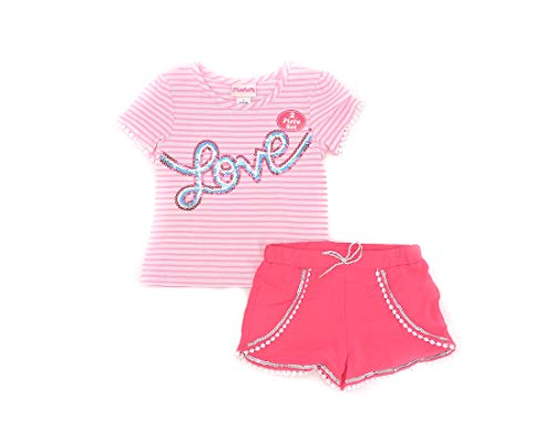 Flapdoodles 2-Piece Top and Shorts Set Toddler Girls Pink and White Size 4/5 ()