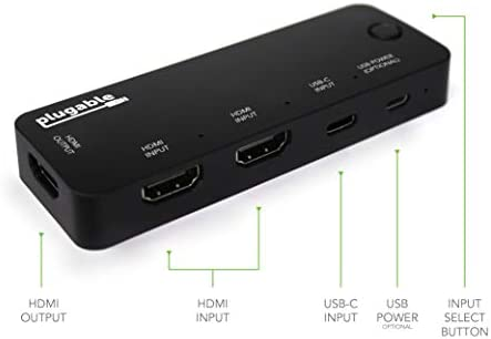 Plugable HDMI 20 and USBC 3 Port Switch with 2 HDMI and 1 USBC Inputs and Single HDMI 20 Output