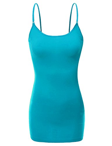 RT1002 Ladies Adjustable Spaghetti Strap Basic Long Cami Tank Top Teal S - Heart Juniors Tank Top