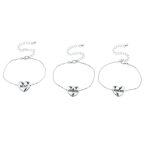 Lux Accessories Silvertone Best Friends Forever Puff Heart Bracelet Set (Pokemon Friendship Bracelet)