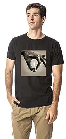 Bulb shaped hand crew neck tshirt, Black L