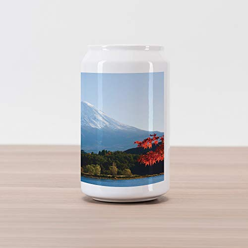 (Lunarable Landscape Cola Can Shape Piggy Bank, Mountain Fiji with Snowcapped Summit and Lake Maple Trees in Autumn, Ceramic Cola Shaped Coin Box Money Bank for Cash Saving, Paprika Blue and Green)