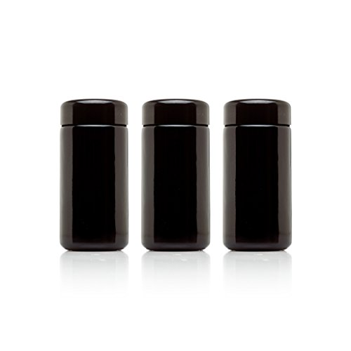 Infinity Jars 100 ml (3.3 fl oz) 3-Pack Tall Black Ultraviolet Refillable Empty Glass Screw Top Jar