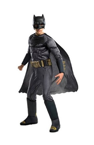 Boys Child Deluxe Justice League Batman Costume With Molded Belt Size Medium Batman Child Molded Belt