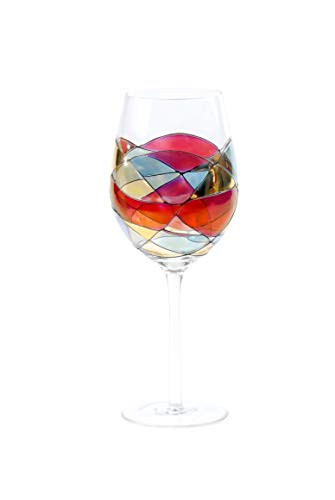 ANTONI BARCELONA Large Wine Glasses 29Oz Sagrada Red Set 1 Stained Hand Painted & Mouth Blown Red or White Wine Special Gifts Birthday Anniversary Weddings Women Men Mother & Father (1 unit)